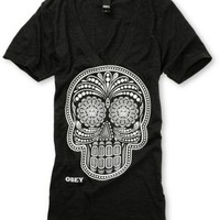 Obey Day Of The Dead Glow In The Dark Charcoal Tee Shirt at Zumiez : PDP