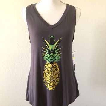 Lucky Brand Women's Pineapple Graphic Tank Top in Blue Multi