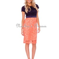 Navy Coral Lace Dress | Trendy Modest Women's Boutique | Modest Clothing and Dresses for Women