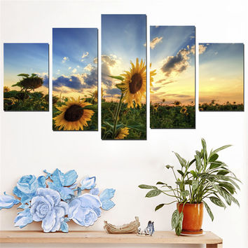 Oil Painting Frameless Sunflower Pictures Art Poster Wall Canvas Painting Sunset Scenery Home Decoration for Living Room 5pcs