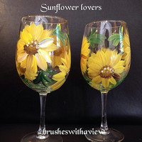 Hand Painted Sunflower Wine Glasses  set of 2