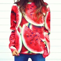 Unisex hipster Sweaters Watermelon Funny 3D Hoodies Galaxy Sweatshirt (S)