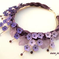 Purple necklace - Collar necklace - Plaited necklace - Handmade necklace - Polymer jewelry