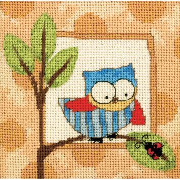 """5""""X5"""" Stitched In Thread Curious Owl Mini Needlepoint Kit"""