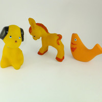 Dog,Fish ,Donkey, yellow ,Orange Rubber Toy, Soviet Vintage, 1970's, Soviet Toy, CCCP