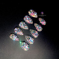 Cinderella Slippers - Made to Order Full Set of Artificial Nails - stiletto nail - fake nail - acrylic nail - false nail - artificial nail