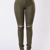 Way Too Much Emotions Jeans - Olive