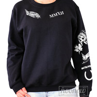 Calum Tattoos Black Sweatshirt Sweater Crew Neck Shirt Add Hood 96 Sweatshirt – Size S M L XL