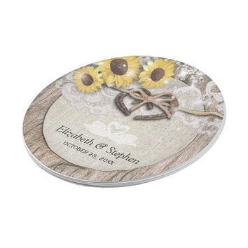 Horseshoes Burlap Lace Sunflowers Wedding Shower Paper Plate