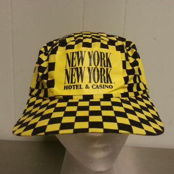 Vintage 80's Las Vegas New York New York Casino Hotel Yellow Checkered Taxi Cap Dad Hat Snap Back Promotional