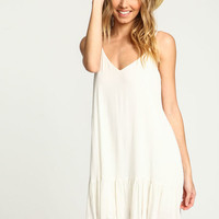 IVORY CREPE RUFFLE SLIP DRESS