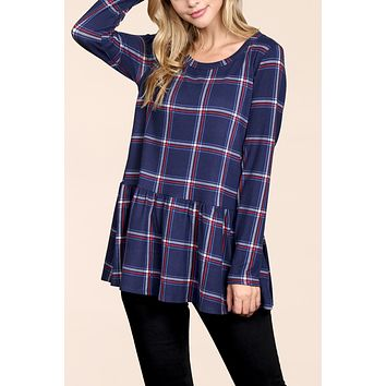 Long Sleeved Plaid Peplum Tunic