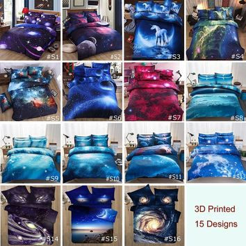 3D Printed Twin Queen Size Quilt Duvet Cover with Pillowcase Bedding Set Galaxy Sky Cosmos Night Universe Outer 2pcs/3pcs