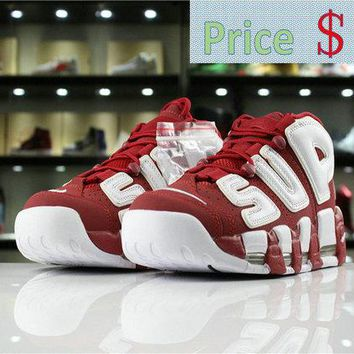 Sneaker paint Supreme x Nike Air More Uptempo Supreme 902290 600 varsity red white shoe