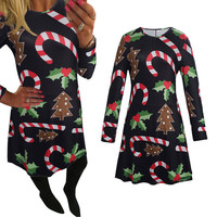 Feitong Autumn Women Dress Ladies Casual Xmas Print Swing Dress Christmas Long Sleeve Flared Party Dresses vestidos femininos