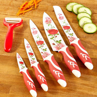 6 Piece Floral Knife Set Blue or Red Floral Print Cutlery Starter Kitchen Prep