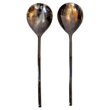 Horn Salad Servers, Dark Brown, Set of 2, Dinner Serving Utensils