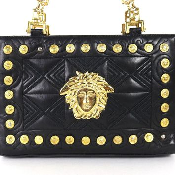 VERSACE Vintage Black Leather Medusa Studded Greek Key Strap Shoulder Bag