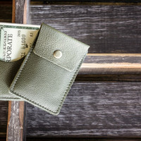 The Slim Wallet, Pebbled Army Green - Italian Leather
