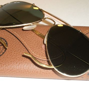 58[]14MM RAY BAN ITALY RB3030 G15 WRAP-AROUNDS OUTDOORSMAN AVIATOR SUNGLASSES