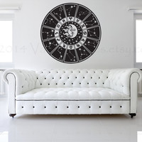 Zodiac wheel vinyl wall decal, star chart, wall sticker, decal, vinyl decal, image, home decor, graphic, wall art