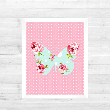 Shabby Chic Butterfly Print Nursery Decor Baby Print Animals Art CUSTOMIZE YOUR COLORS 8x10 Prints Nursery Decor Art Baby Room Decor Kids