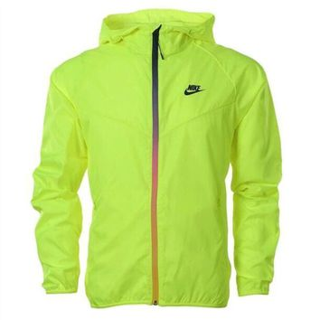 Nike Fashion Women Men Causal Fluorescent Green Zippe Hoodie Cardigan Sweatshirt Jacket Thin Coat Windbreaker Sportswear