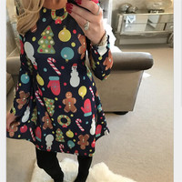 4XL 5XL Big Size Casual Print Cartoon Christmas Tree Snowman Dress Autumn Winter A-Line Dresses 2017 Plus Size Women Clothing
