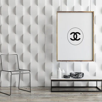 Coco Chanel Logo Poster,Coco Chanel Sign,Coco Chanel Fashion Print,Fashion Art,Home Decor,Wall Decor,Apartment Decor,Coco Chanel Wall Art