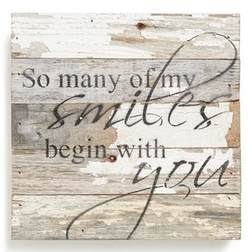 Second Nature By Hand 'So Many of My Smiles Begin with You' Wood Wall Plaque