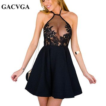 GACVGA Summer Sexy Dress Women Embroidery Lace Patchwork Hollow Out Party Dress Casual Sleeveless Slim Vintage Women's Dresses