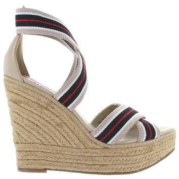 MIA Renegade - Nude/Multi Stripe High Platform Wedge Espadrille Sandal