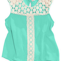 Monteau Girls' Crochet-Detailed Sleeveless Blouse
