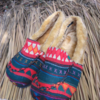 Men's Slippers Akha Tribal Embroidery on Cotton Plush Lined GIft