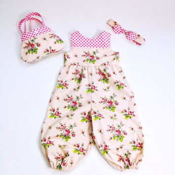 Girls 2T jumpsuit with little girl purse and girls headband summer outfit toddler outfit boutique outfit  toddler purse toddler headband