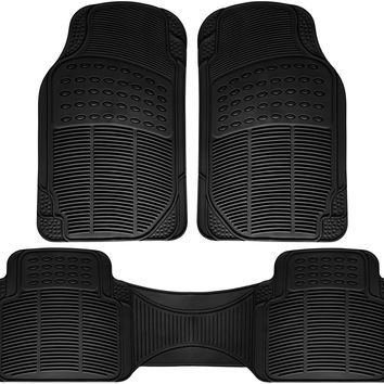 OxGord Universal Fit 3-Piece Full Set Ridged Heavy Duty Rubber Car,Truck,Van,SUV Floor Mats