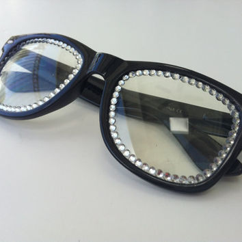 RAVE Black light show glasses with rhinestones by candycoatedlove