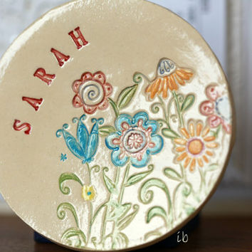 Ceramic Ring Dish Personalized Flower Plate Colorful Mother's Day Gift  Pottery Ring Holder Bridal Shower Jewelry Dish