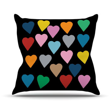 "Project M ""Hearts Colour on Black"" Outdoor Throw Pillow"