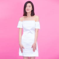 Casual Plain White Off Shoulder Mini Dress