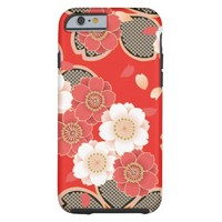 Cute Vintage Retro Floral Red White Vector Tough iPhone 6 Case