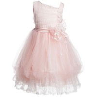 Girls Pink Tulle and Lace Dress