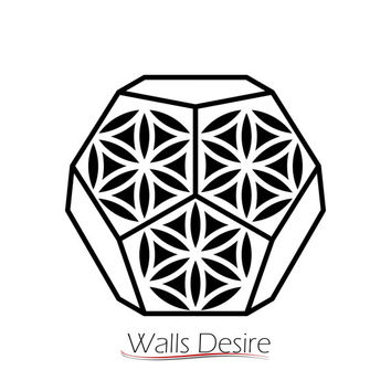 Dodecahedron Sacred Geometry, Flower Of Life Pattern, vinyl decal, J00119.