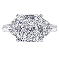 Three Stone Radiant Cut Diamond Ring