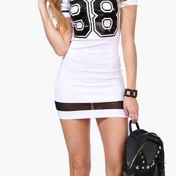 A| Chicloth Alphabet Pencil Short Sleeve Bodycon Dress