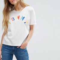 Tommy Hilfiger Denim Multi Colour Logo T-Shirt at asos.com