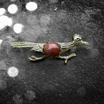 Vintage Goldstone Roadrunner Pin