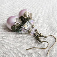 Neo victorian earring, vintage inspired earring, pearl vintage style earring, vintage style jewelry, vintage inspired jewelry - pink