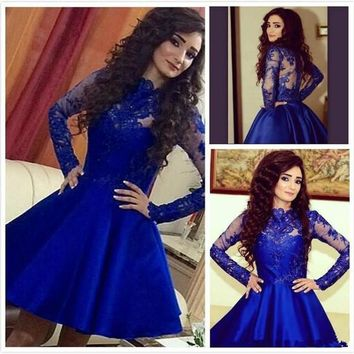 Royal Blue Cocktail Dresses 2016 High Neck Lace Bodice Short Cocktail Dress Sheer Long Sleeve Robe de cocktail