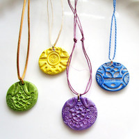Lollipop Colors Petite Oil Diffuser Necklace Colorful 1 Inch Clay Pendant Essential Oil Diffuser Necklace Purple, Yellow, Green or Blue